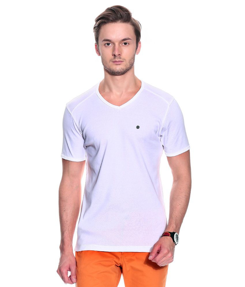 Numero Uno White Half Cotton V-Neck  T-Shirt
