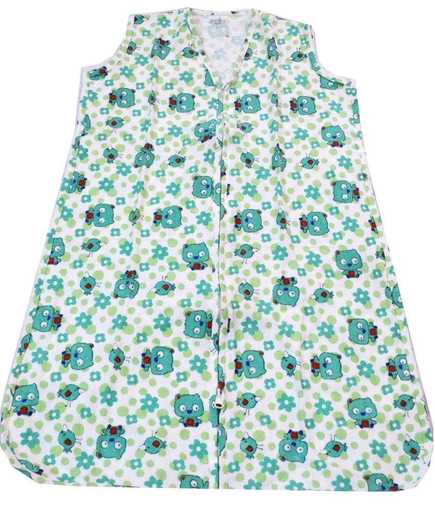 Ireeya's Wearable Baby Blanket (Sleeveless) Green Kitty