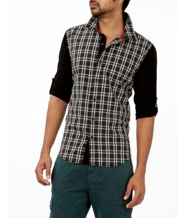 Probase Black Checkered Shirt