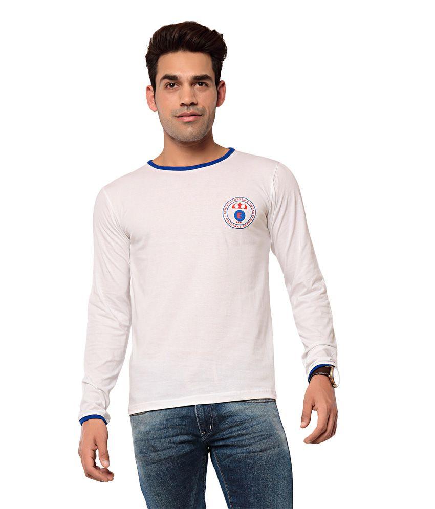 EBRY White Full Cotton Round T-Shirt