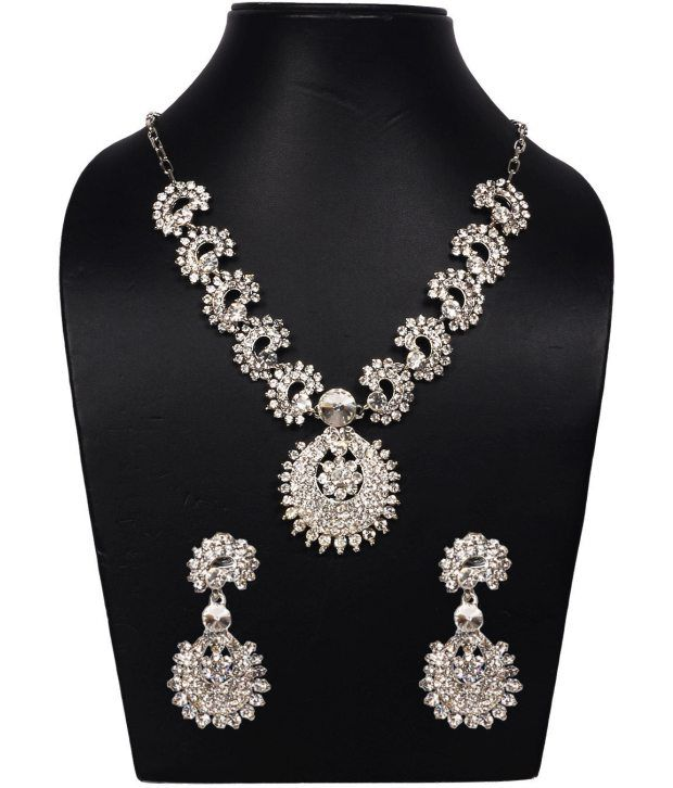 Voylla Elegant American Diamond Necklace Set