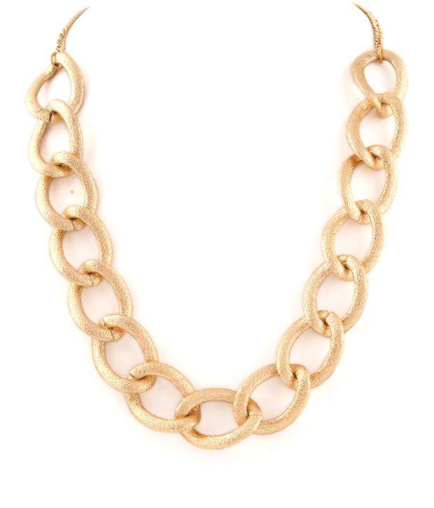 Voylla Glimmering Golden Chain Link Style Necklace