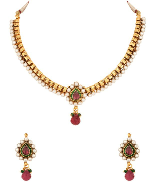 Voylla Necklace Set with Pearl Beads Border; Faceted Red Drop; Gold Plating
