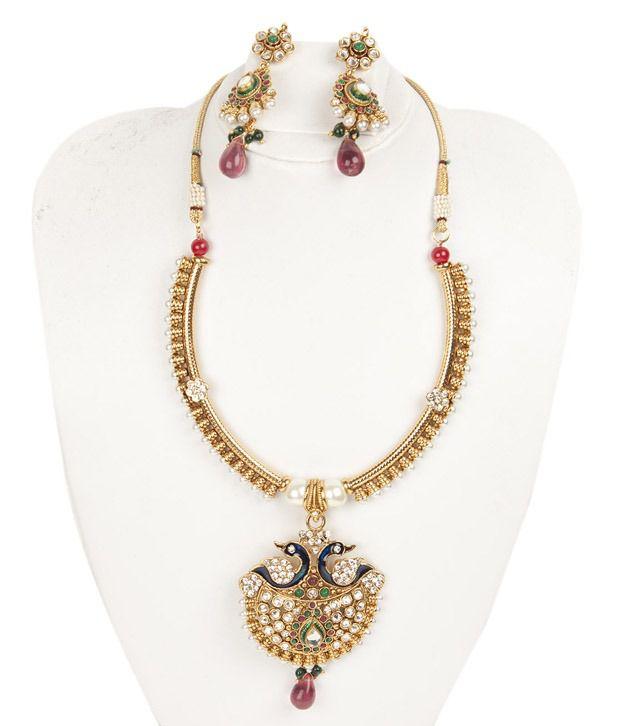 Voylla Traditional Pecock Designed Necklace Set