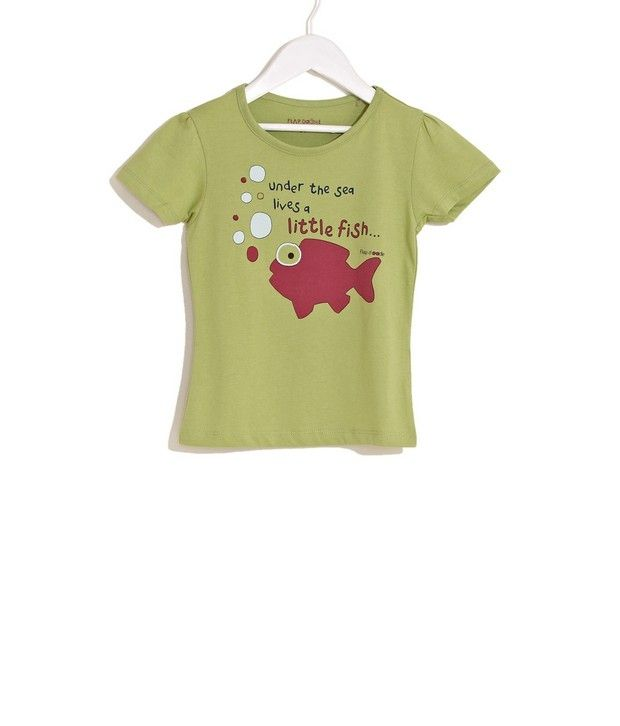Doodle Little Fish Print Tee For Infant Girls