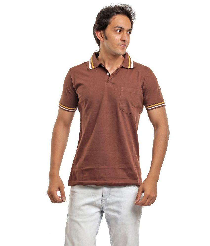 Biker Gang Brown Half Cotton Henley  T-Shirt