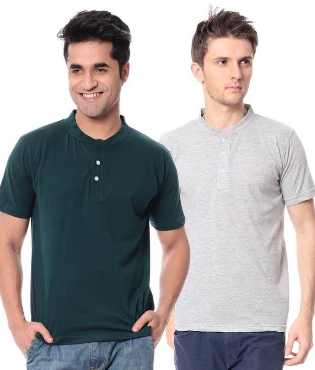 Leana Bottle green -Grey Pack Of 2 Half Henley Tshirts