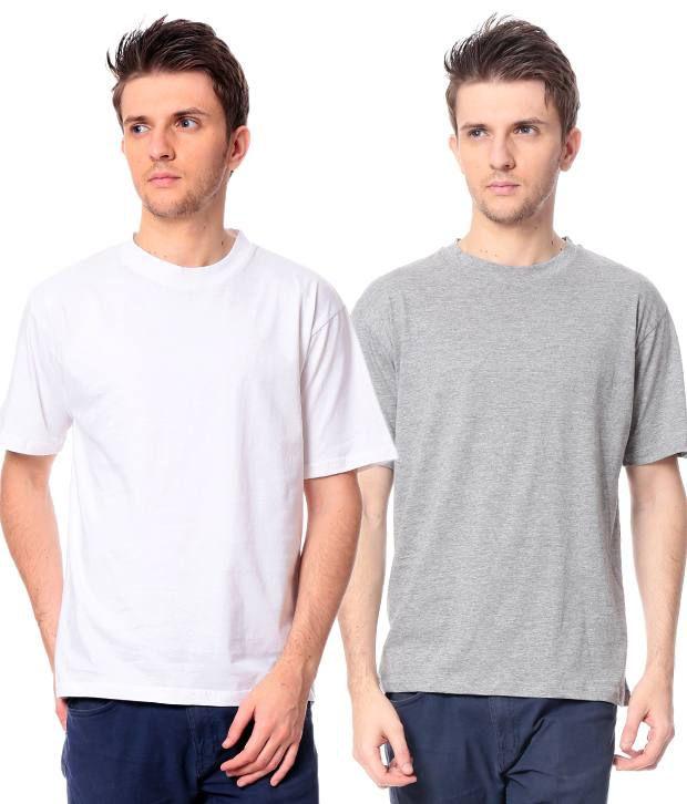 Leana White -Grey Pack Of 2 Round Neck T Shirts