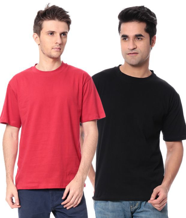 Leana Mahroon-Black Pack Of 2 Round Neck T Shirts