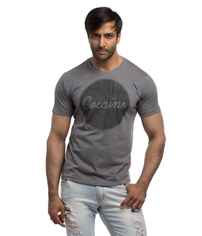 Cult Fiction Gray Half Cotton Round T-Shirt