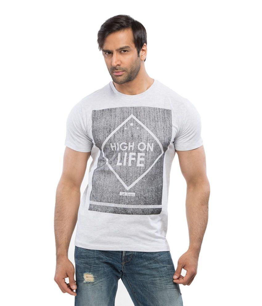 Cult Fiction White Half Cotton Round T-Shirt