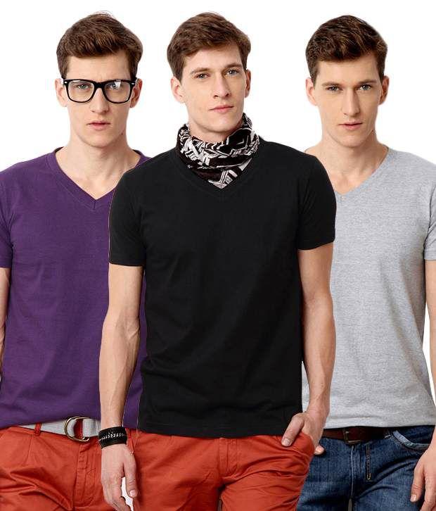 Street Junkies Purple Black Gray Half Combo Of 3 T Shirts Cotton V-Neck  T-Shirt