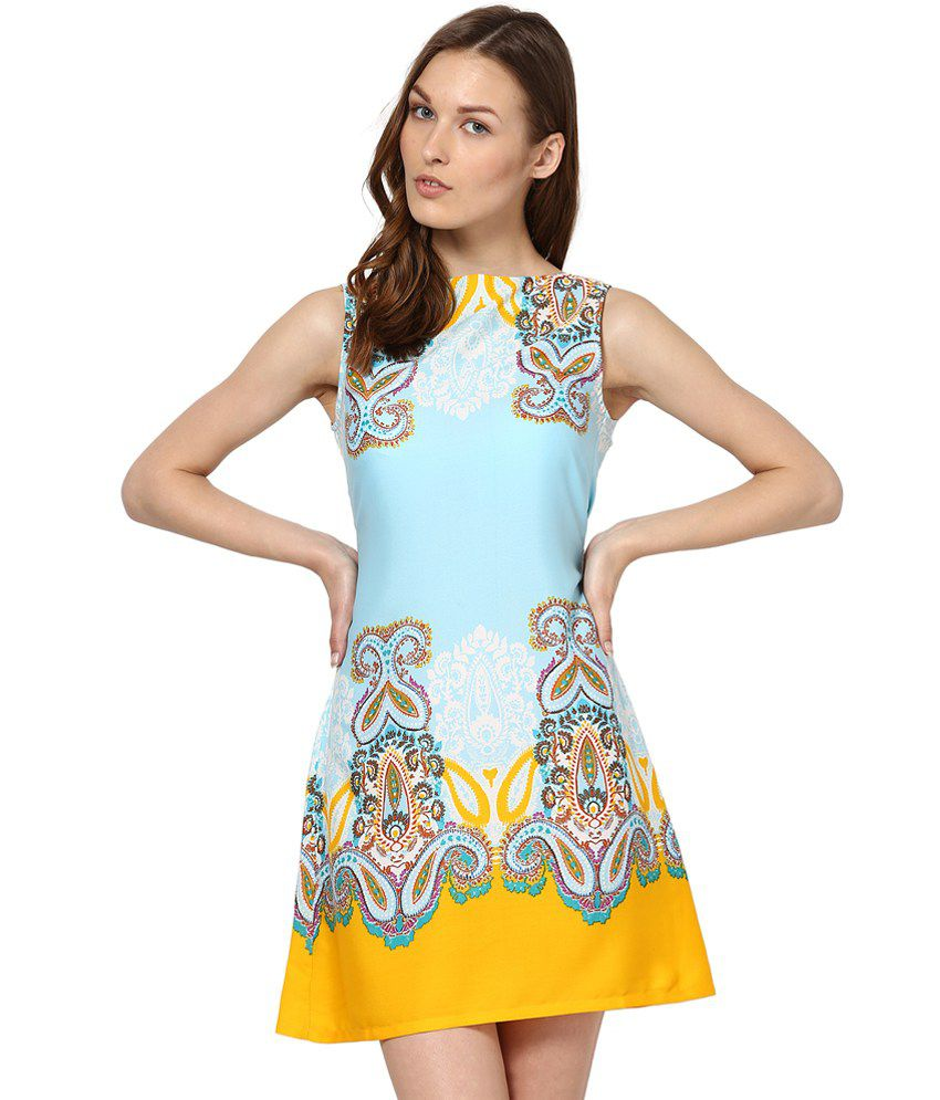 4ca332118454 Abiti Bella Blue Polyester A Line Dress - Buy Abiti Bella Blue Polyester A Line  Dress Online at Best Prices in India on Snapdeal