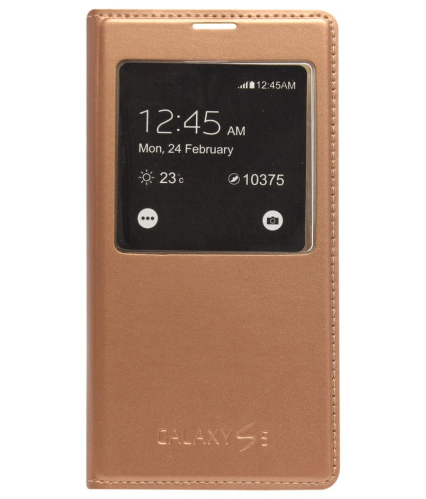 sports shoes 70451 3c437 Astrode S View Sensor Leather Flip Cover for Samsung Galaxy S5 G900 (Gold)