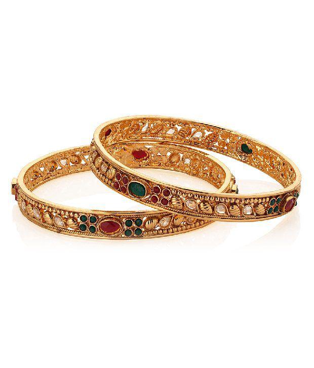 Voylla Gold Plated Charming Kundan Bangle Set