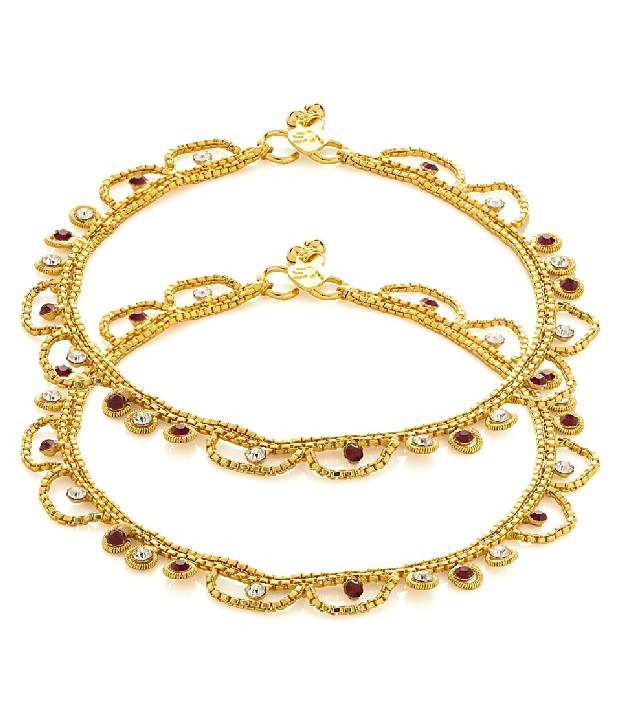 Voylla Gold Toned Pair Of Anklets Adorned With Cz, Maroon Stones