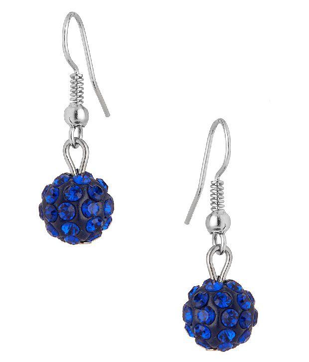 Voylla Pair Of Drop Earrings Featuring Sparkling Dark Blue Crystals