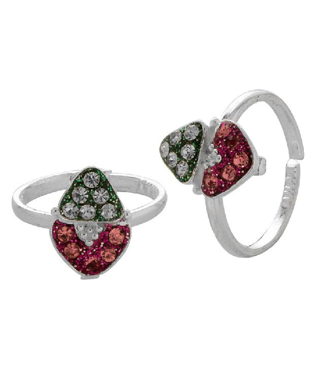 Voylla Silver Toned Toe Rings With Pink, Green Sparkle