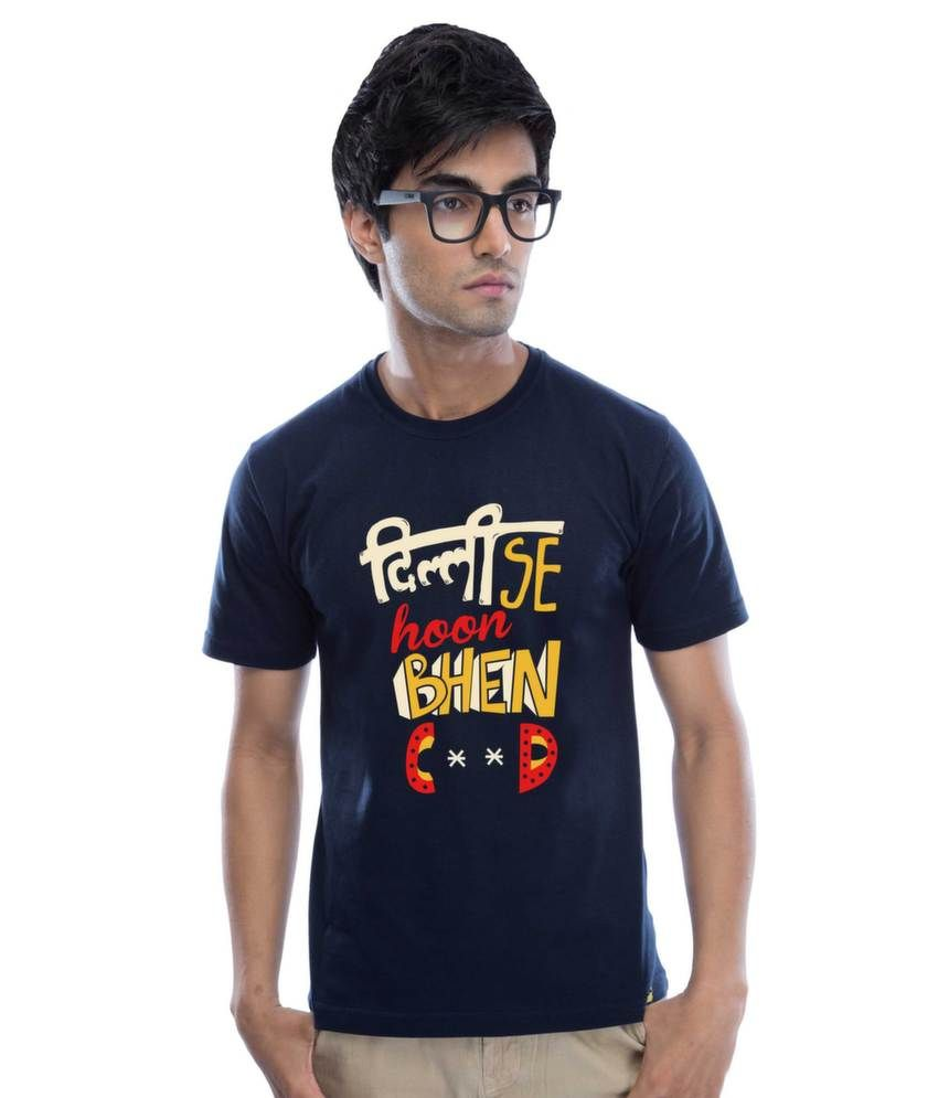 Black t shirt on flipkart - Delhi Se Hoon Cotton Navy Blue T Shirt