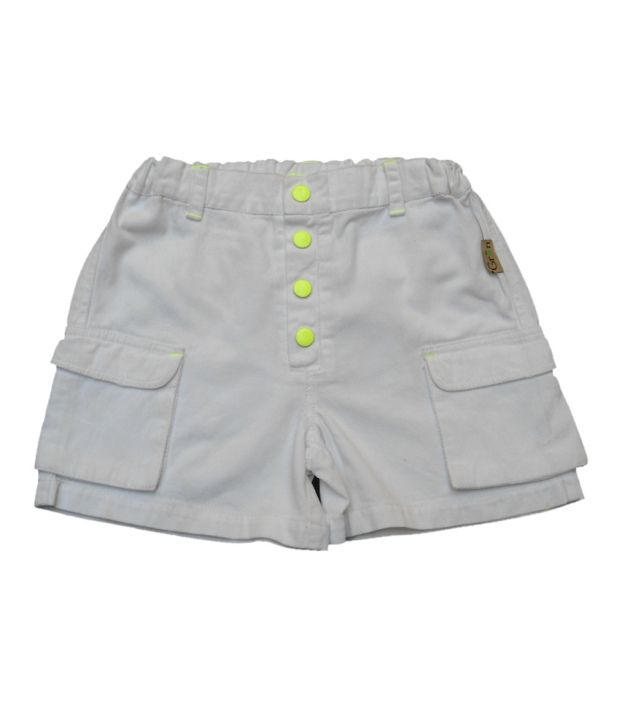 Gron Stockholm White Shorts  For Girls