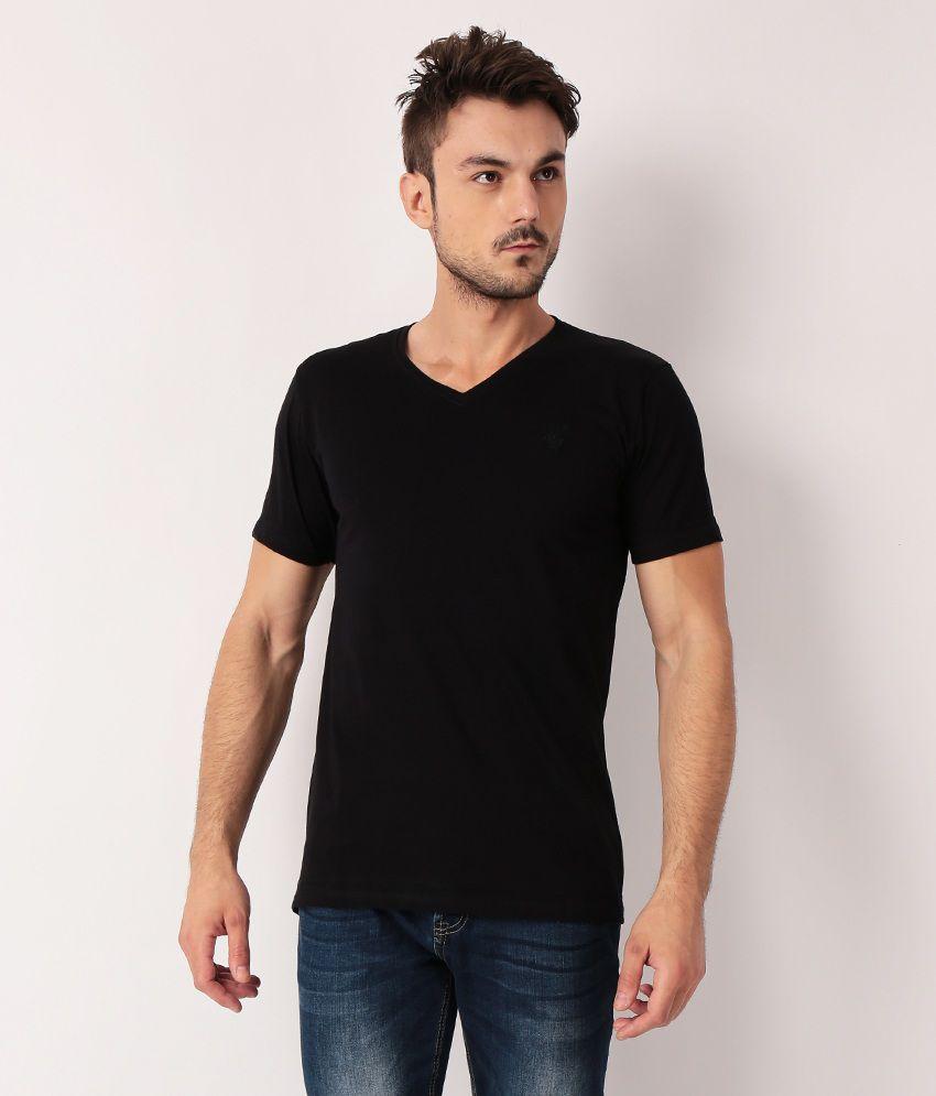 TrueDesign Black Half Cotton V-Neck  T-Shirt