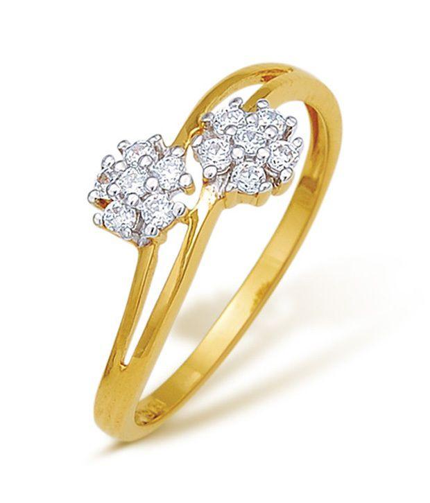 18Kt Hallmarked 0.156 Cts Real  Diamond Ring by Corona
