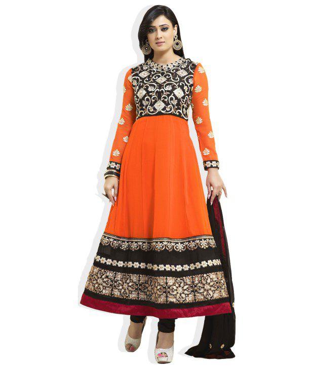 Atisundar Orange Embroidered Faux Georgette Semi-Stitched Anarkali  Dress Material