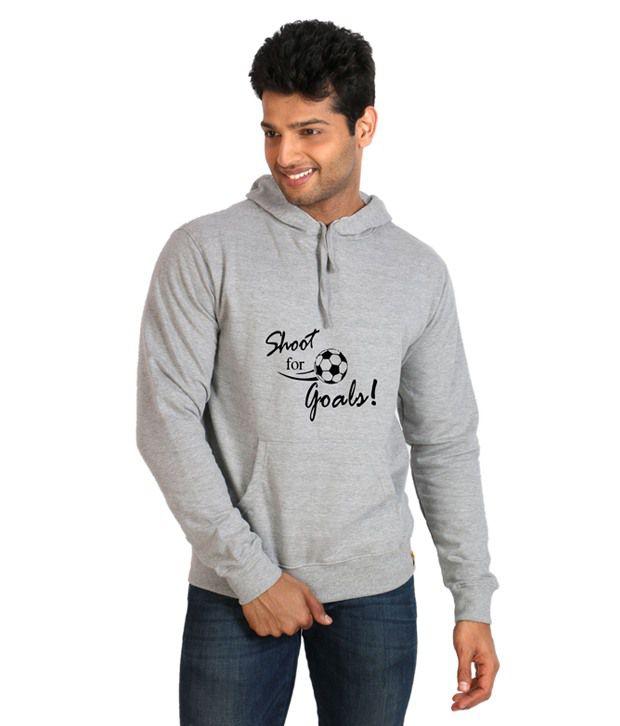 Campus Sutra Gray Full Cotton Hooded  Sweatshirt