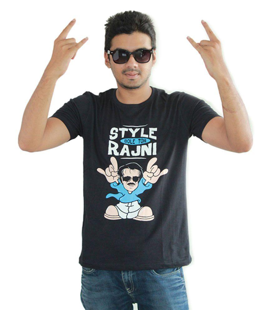 TakilaShop Black Half Cotton Round T-Shirt