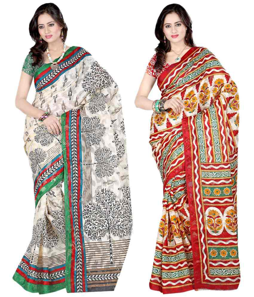 Sanju Sarees Impressive Brown And Beige Colour Net Brasso Sarees Set Of 2