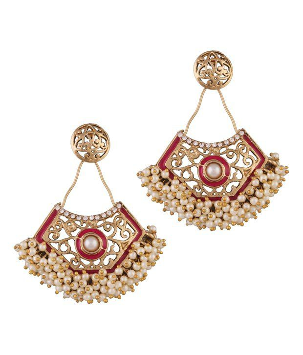 Variation Pink Enamel Pearl Studded Fashion Earrings