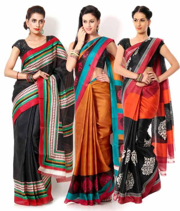 Aaditri Modish Multicolor Bhagalpuri Silk Printed Sarees Combo - Set of 3