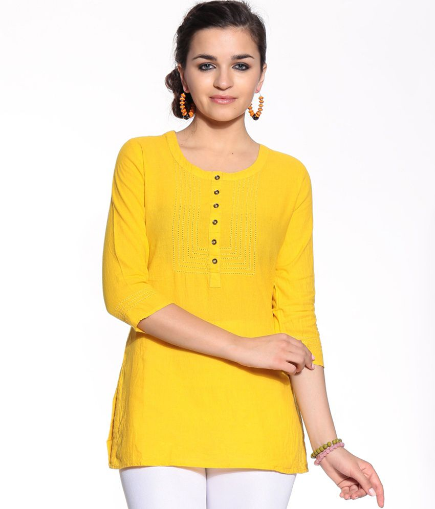 Biba Yellow Cotton Kurti - Buy Biba Yellow Cotton Kurti Online at Best Prices in India on Snapdeal