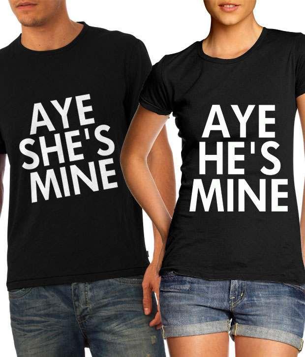 Buy he 39 s mine she 39 s mine in black couple t shirts online for Buy couple t shirts online india