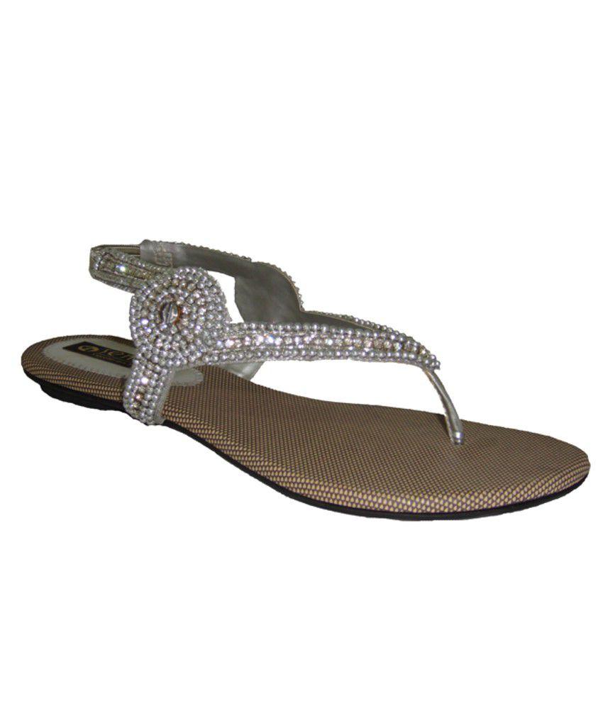 Womens sandals flipkart - Ladies Simple Studded Fancy Silver Sandals