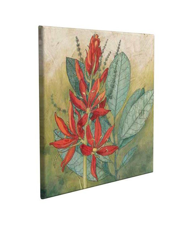 Artjini Crimson Tropical I Multicolour Canvas, Frame - Wood Paintings-Floral