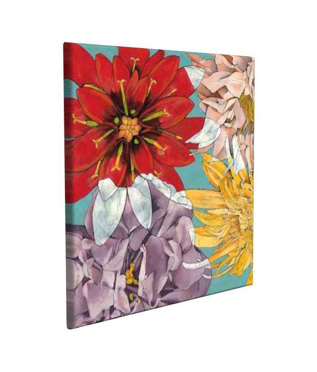Artjini Flower Hover Multicolour Canvas, Frame - Wood Paintings-Floral