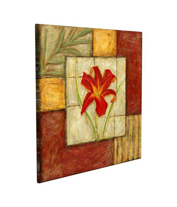 Artjini Flower Montage IV Multicolour Canvas, Frame - Wood Paintings-Floral
