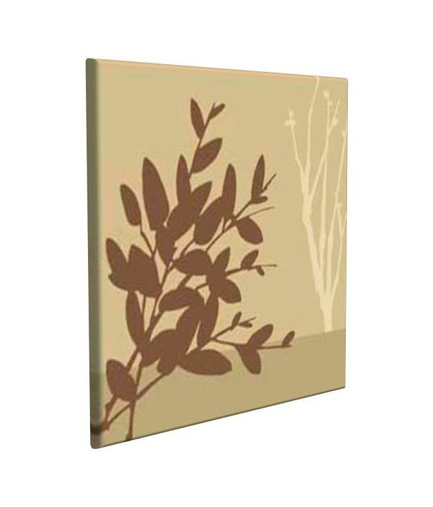 Artjini Metro Leaves Brown Canvas, Frame - Wood Paintings-Floral
