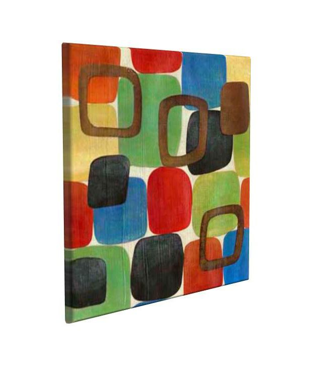 Artjini Revelry Multicolour Canvas, Frame - Wood Paintings-Abstract