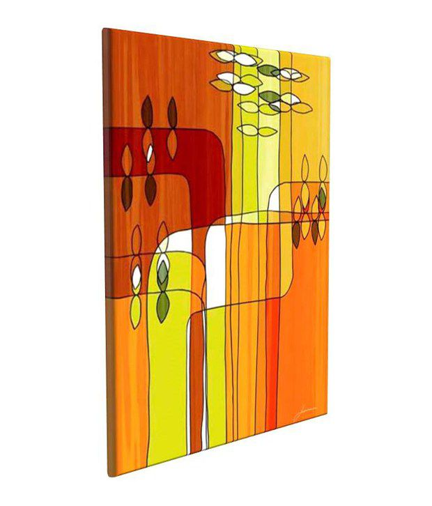 Artjini Uplift II Multicolour Canvas, Frame - Wood Paintings-Abstract