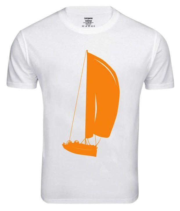 Cartoonpur White Half Cotton Round  T-Shirt