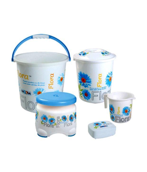Nayasa Printed Small Bathroom Plastic Bucket and Mug Set, 6