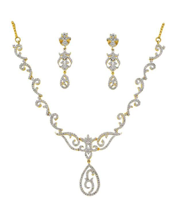 Orniza Floral AD CZ Diamond Necklace Set