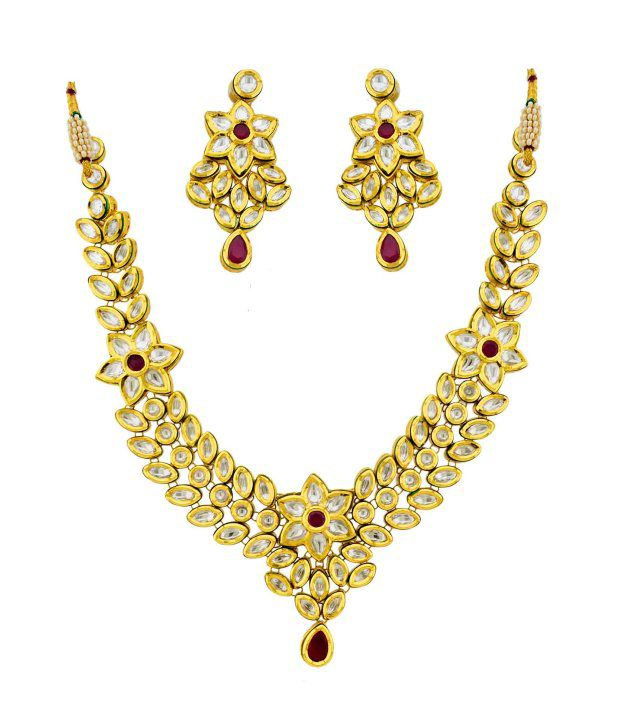 Orniza Vilandi Necklace Set Ruby Stone