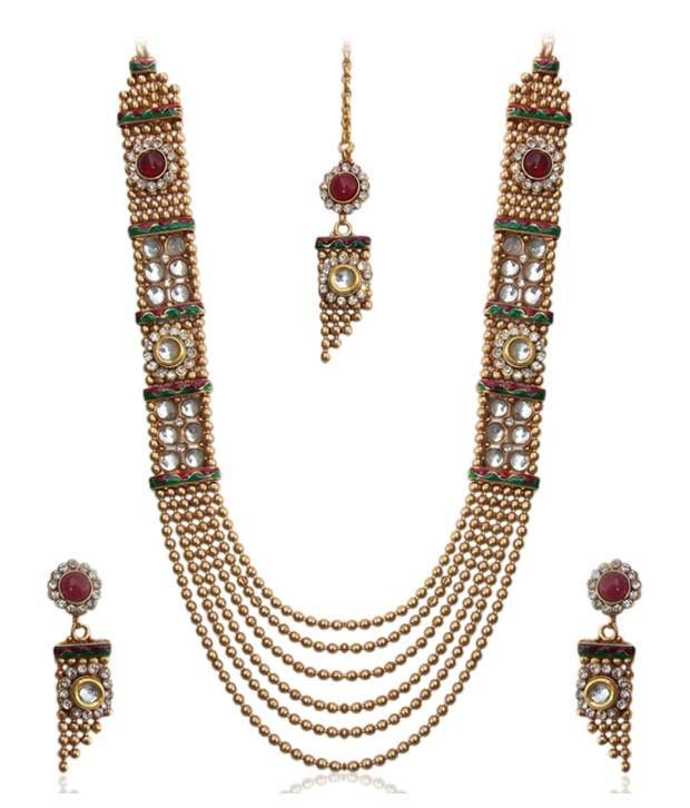 d1b95a8942 ADIVA Elegant Gold Antique Kundan Necklace Set With Maang Tika In Layered  Style - Buy ADIVA Elegant Gold Antique Kundan Necklace Set With Maang Tika  In ...