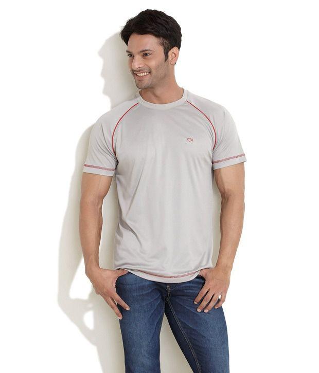 Club York Gray Half Polyester Round T-Shirt