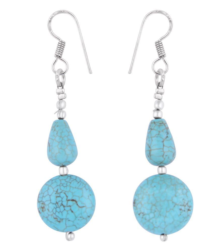 Pearlz Ocean 2.5 Inch Turquoise Howlite Coin & Drop Shaped Dangle Earrings