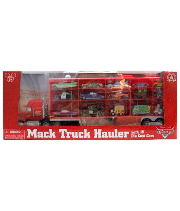 Disney Pixar Cars Mack Truck Hauler Carrying Case And 15