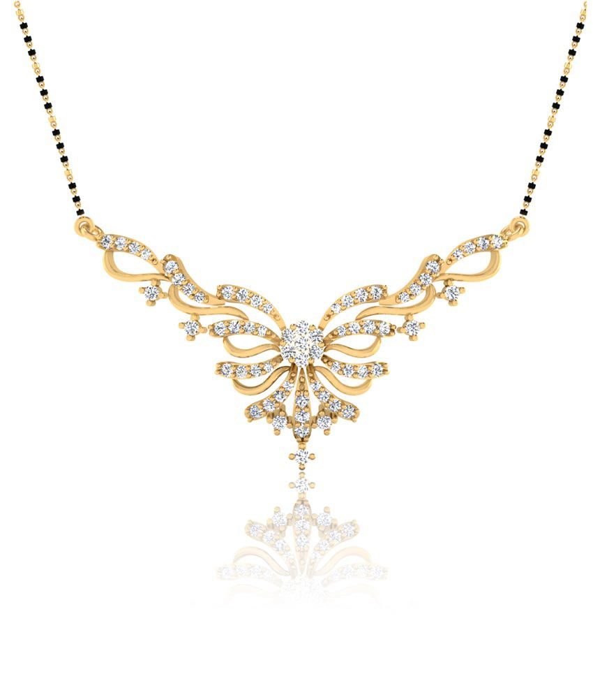 Forever Carat Real Diamond 0.48 Mangalsutra in 100% Certified 14kt Gold